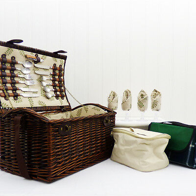 Picnic Basket - Wicker Hamper (4 Person Greenfield) with Blanket & Cooler Bag