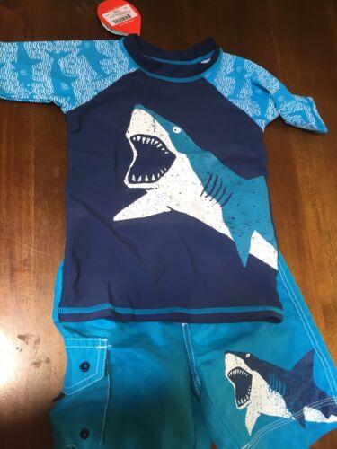 Hatley Boys Shark Ally rash guard Rash GuArd Swim Board Shorts Shirt 3 3t 3y $70