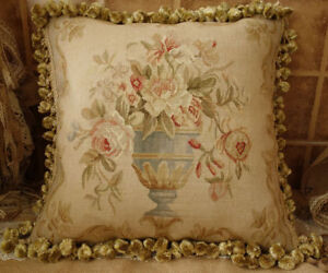 18-034-Gorgeous-Traditional-Hand-Woven-18th-C-Reproduction-Aubusson-Throw-Pillow