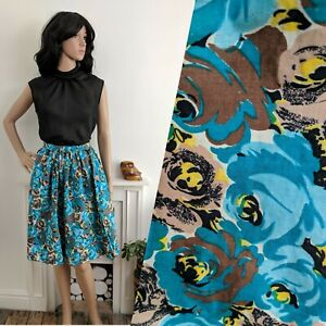 Vintage-50s-Turquoise-Painted-Rose-Floral-Cotton-Skirt-Dirndl-60s-4-6-34-XS