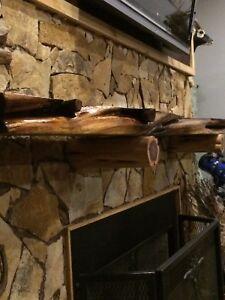Solid Wood Fireplace Red Cedar Mantel Rustic Beam Floating Shelf