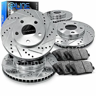 "Brake Rotors FRONT+REAR KIT ELINE ""DRILLED AND SLOTTED"" & CERAMIC PADS RA32377"
