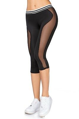 Gelernt Black Yoga Capri Pants High Waist Transparent Mesh Elastic Fit Leggings Fgyc