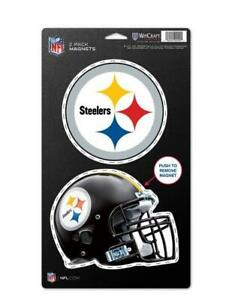 Pittsburgh-Steelers-grosses-Magnet-2-er-Set-NFL-Football-Team-Logo-und-Helm-Neu