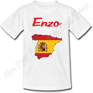 T-shirt-Enfant-Carte-Espagne-avec-Drapeau-avec-Prenom-Personnalise