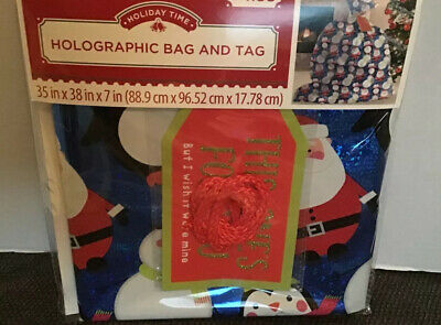"Oversized Large Gift Bag /& Tag Holographic Print Big Gift Wrapping 35x38/"" Lot 2"
