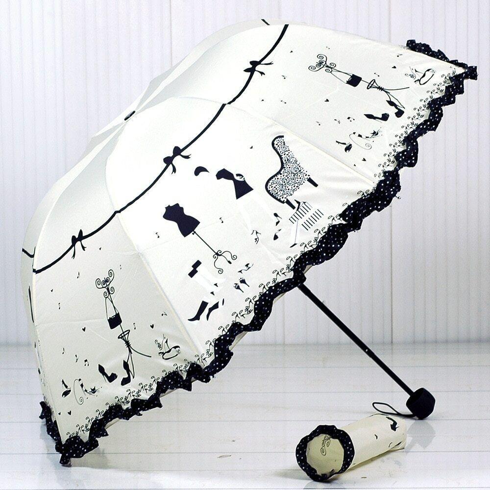 Ladies Heart-Shaped Compact Folding Umbrella Windproof Rain Parasol