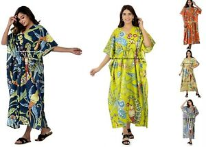 Indio Largo Estampado Vestido Kimono Boho Maxi de Noche Pájaro Pavo Real Algodón