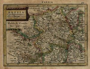 Hesse-Holy-Roman-Empire-1628-Mercator-minor-miniature-beautiful-engraved-map
