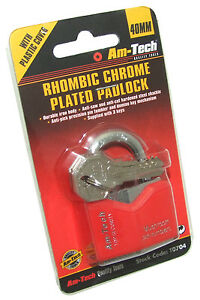 Am-tech-T0704-40-mm-Rhombic-Chrome-Plated-Iron-Padlock-by-Amtech