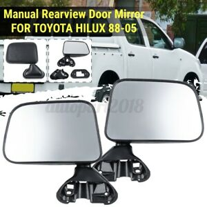 Pair-Side-Door-Manual-Rearview-Mirror-Clear-For-Toyota-Hilux-Pickup-1988-2005