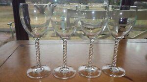 Clear twisted stem wine glasses Water goblets Mikasa 4 9 oz elegant twisted stem