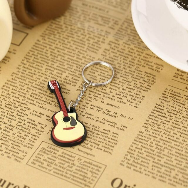 Folk Guitar Keychain Silicone Key Chain Key Cap Pendant Gift Key Ring Holder GN