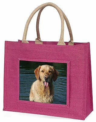 Golden Retriever im Wasser Große Rosa Einkaufstasche Weihnachtsgeschenk,