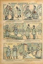 Caricature Guerre Kaiser Bataille de la Somme Poilus Balle WWI 1916 ILLUSTRATION
