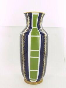 Echt-Kobalt-Porcelain-Vase-in-Bright-Blue-amp-Sage-Green-With-22-ct-Gold-Accents
