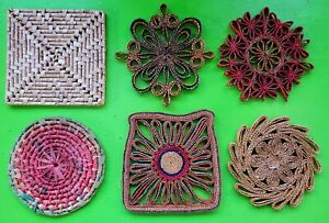 Vintage Mid Century 60s 70s Colorful Funky Straw Trivets Wall Hangings Wicker