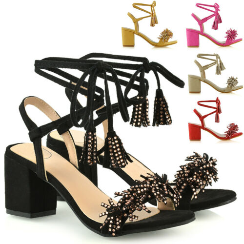 Womens Low Heel Sandals Ladies Lace Up Faux Suede Fringe Strappy Shoes Size 3-8