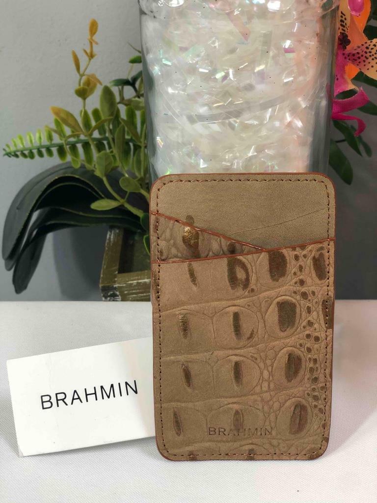 NWT BRAHMIN Wilmington Gold Genuine Leather Case Card