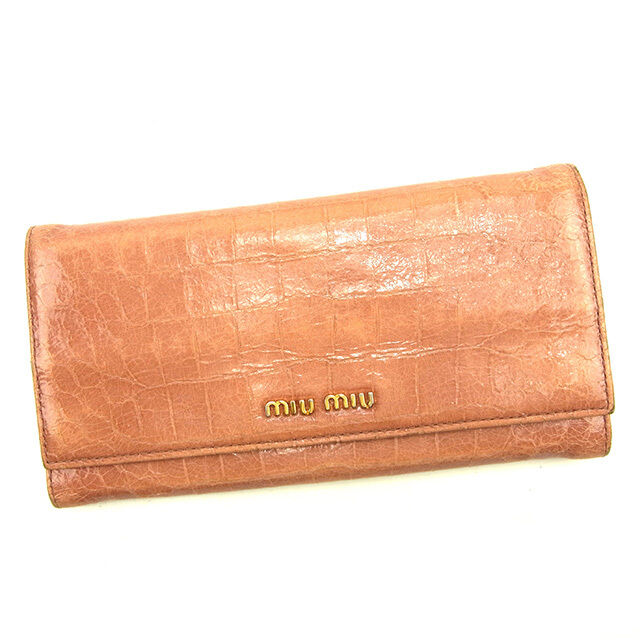 miumiu Wallet Purse Long Wallet Pink Gold Woman Authentic Used T129