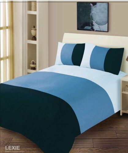 Modern 3 Tone Soft Microfibre Plain Duvet Cover Bed Set Choice Of 4 Colours Double Blue