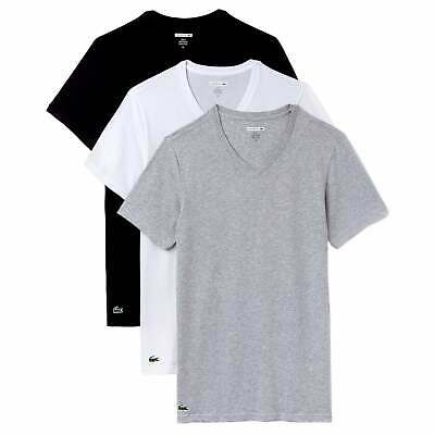 Lacoste 2 Pack T shirts Slim Fit Crew Neck Black Grey White RAM8702 NEW