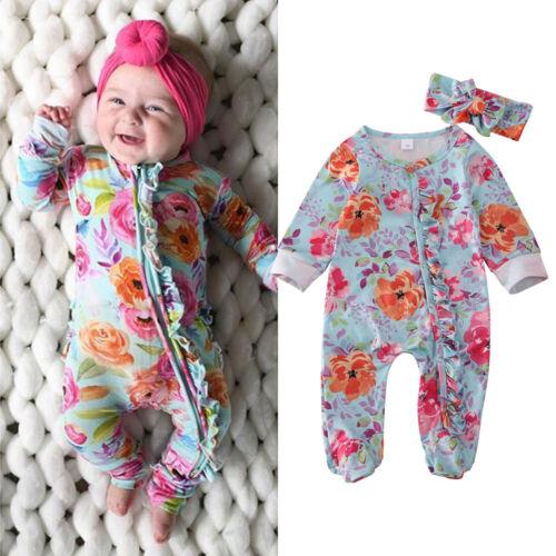 Neugeborenes Baby Mädchen Floral Kleidung Strampler Body Stirnband Nachtwäsche