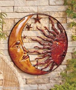 Image Is Loading Metal Celestial Moon Sun Decor Garden Art Indoor