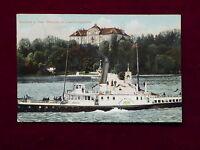 Ansichtskarte Schloss auf Insel Mainau Bodensee mit Dampfer, color 1910 gel.