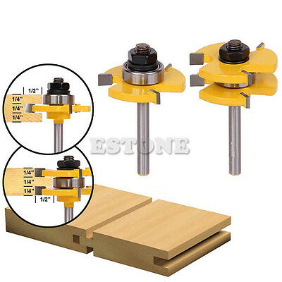 "2Pcs Tongue & Groove Router Bit 3/4"" Stock 1/4"" Shank For Woodworking Tool New"