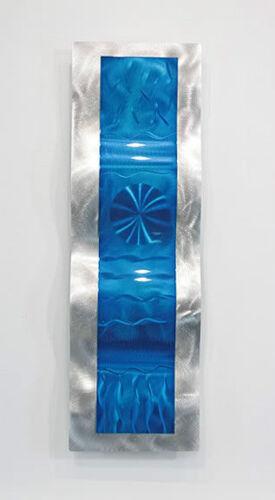 Blue//Silver Wave Metal Wall Art Sculpture Modern Wave Decor By Jon Allen