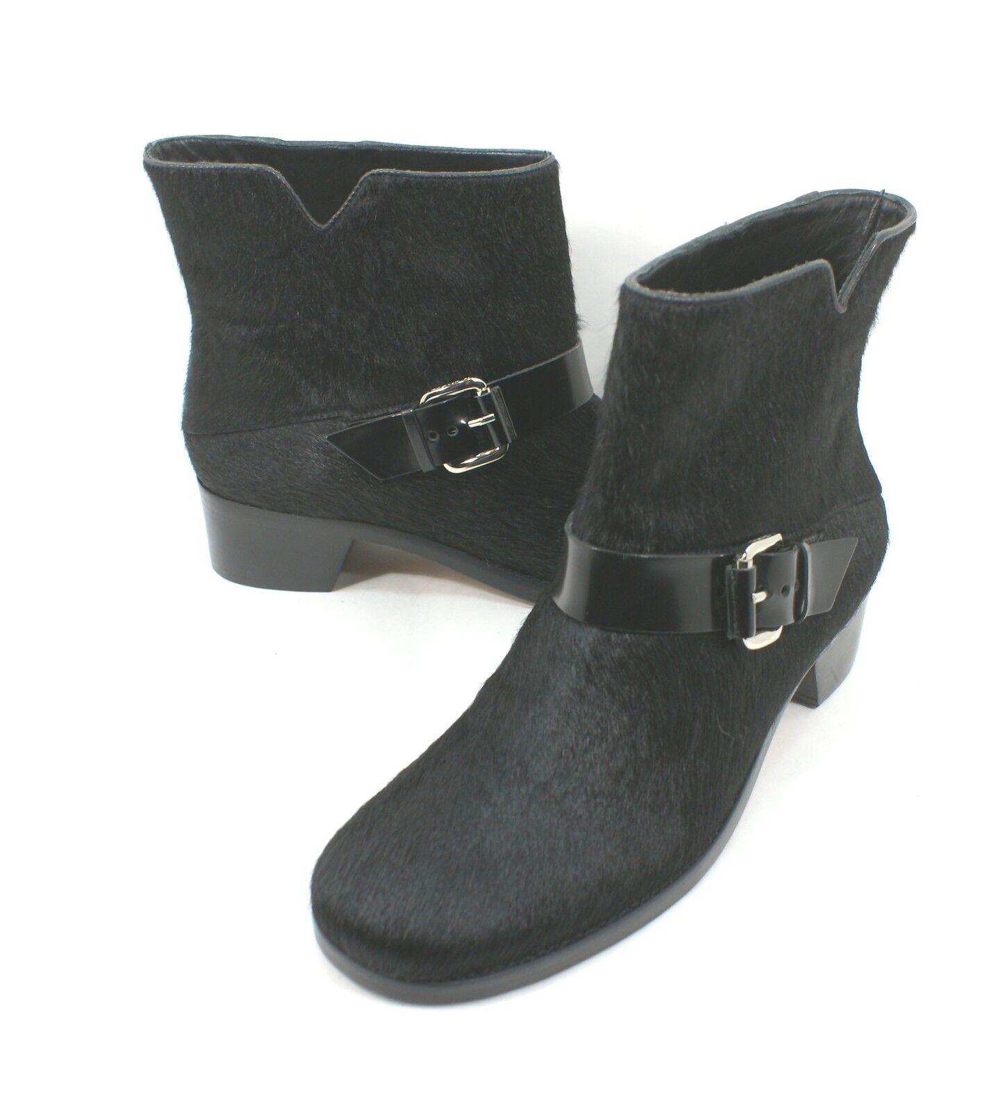 Derek Lam 10 Crosby Charlotte Black Calf Hair Ankle Boot Size 9.5 M