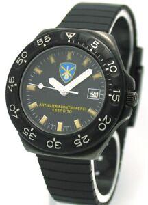 Vintage-Breitling-Colt-Quartz-Esercito-Military-Stahl-geschwaerzt-PVD-Ref-80210