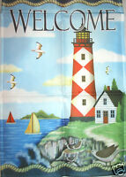Lighthouse Welcome Small Outdoor Garden Flag 12 X 18 Nautical - Boats -