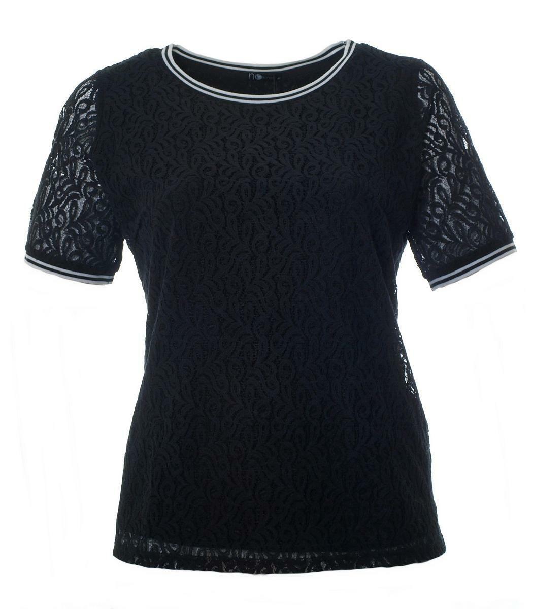 No secret shirt da donna in pizzo nero grandi dimensioni a maniche corte in cotone