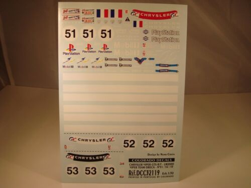 DECALS 1//32 CHRYSLER VIPER GTS-R//T LE MANS 2000 TEAM ORECA COLORADO  32119