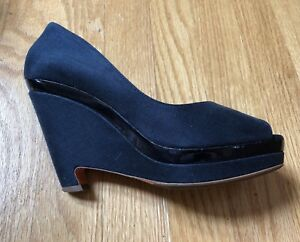 7df26dda9ca Jil sander navy blue canvas patent leather peep toe wedge shoes size jpg  300x242 Navy blue