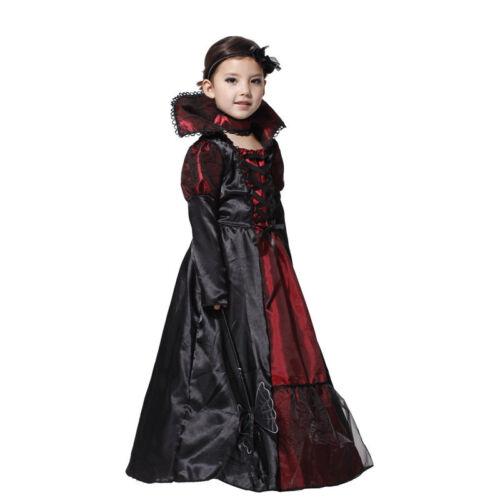 Kids Girls Morticia Vampire Princess Costume Halloween Fancy Dress Outfits Set
