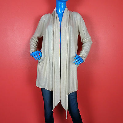 Kensie Waterfall Open Front Cardigan Sweater Beige L 12 14 16 Draped Slimming