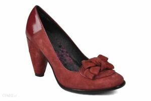 RRP-85-Hush-Puppies-Womens-Annabelle-Suede-Leather-Court-Heel-Shoes-Burg-UK-6