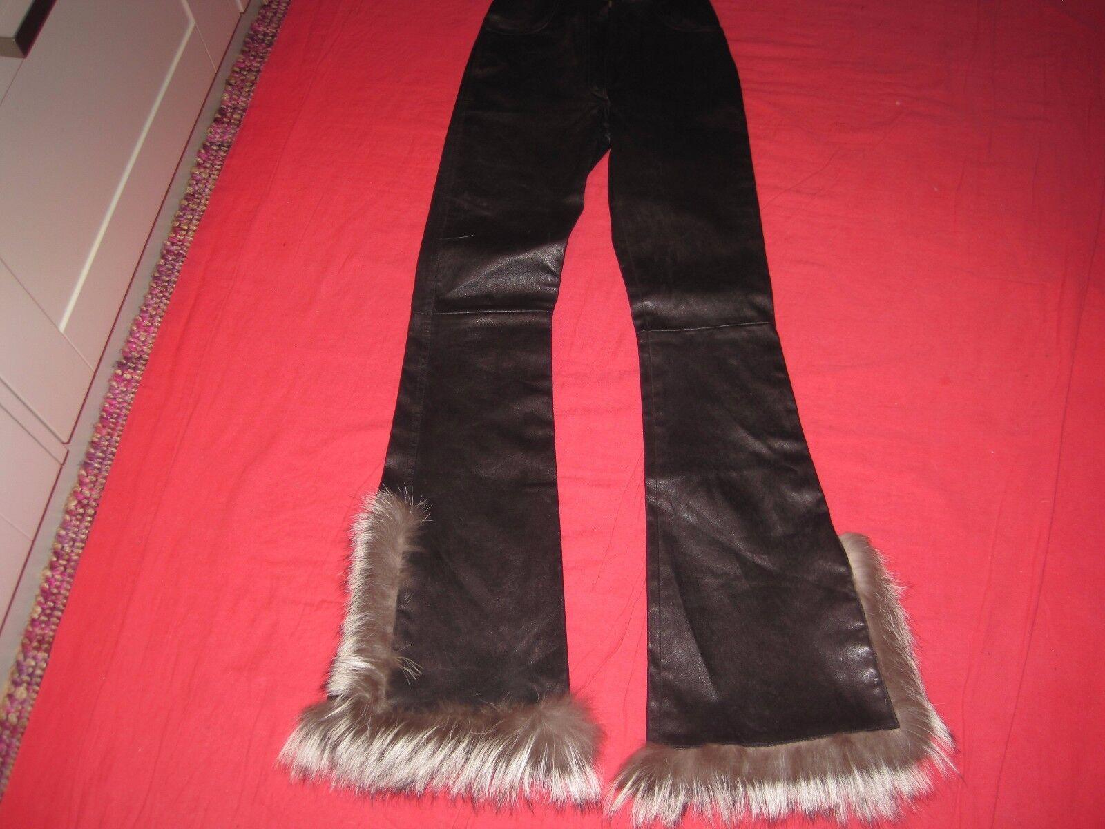 RARE JITROIS Marroneee scuro in pelle & pelliccia di volpe Stretch Pantaloni EU 34 Stati Uniti 2