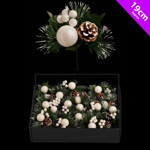 6 X Noël Blanc Glitterball /& pin Picks Décoration ArbreCouronne Décoration