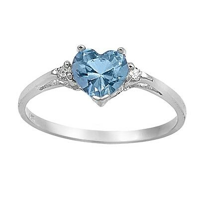 New 925 Sterling Silver Heart Shape Color CZ Ring Birthstone Jewelry