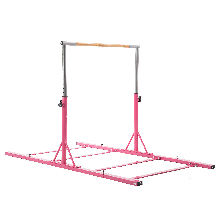 13 Height Options Pink Heavy Duty Adjustable Horizontal Bar -Gymnastics