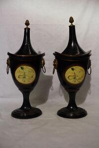 Pair Of 2 Maitland Smith Lion S Head Fruit Motif Black Urns W Acorn Finial 22 Quot H Ebay