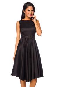 Satin Kleid Mit Gurtel Edles Kleid Schwarz Festliches Kleid Silvester Rockabilly Ebay