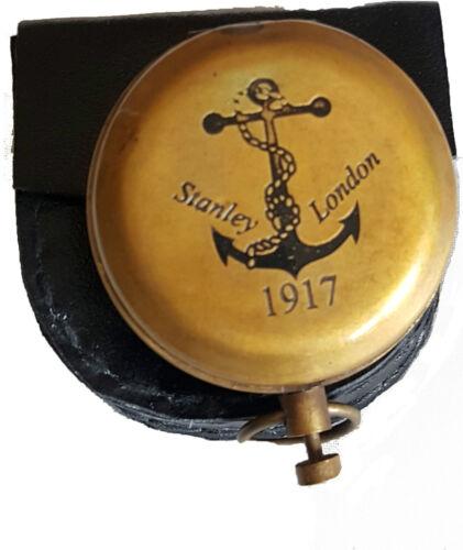 Brújula Bolsillo de botón de latón Marítima Brújula Stanley Londres ANCHOR