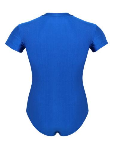 Men Press Crotch Leotard Bodysuit Short Sleeves T-shirt Romper Pajamas Nightwear