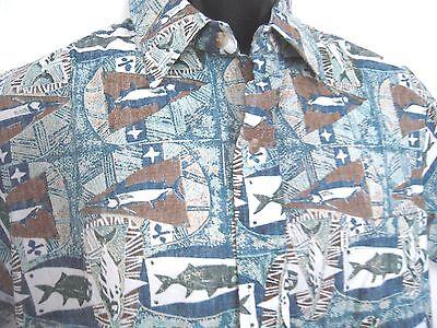KAHALA Avi Collection Hawaiian Shirt Fish Reverse Print Sz Med Cotton Blue Green