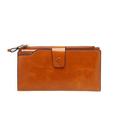 Lady Women Fashion Genuine Leather Clutch Long Handbag Card Purse Wallet Bag